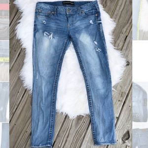 Express Barely Boot Distressed Low Rise Jeans 8S